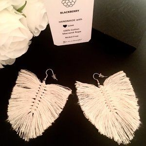 NEW Macrame Handmade Feather Boho Earrings